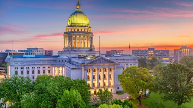 The Wisconsin State Capitol in Madison at sunset
