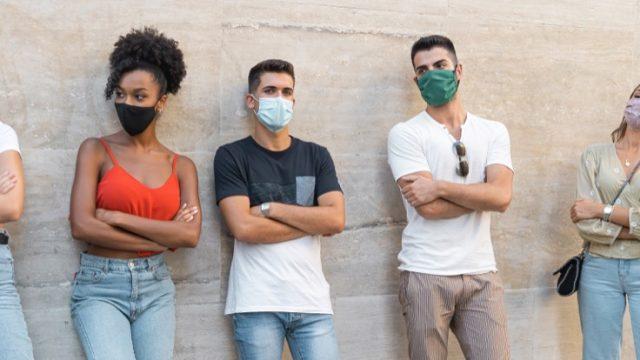 People wearing various masks