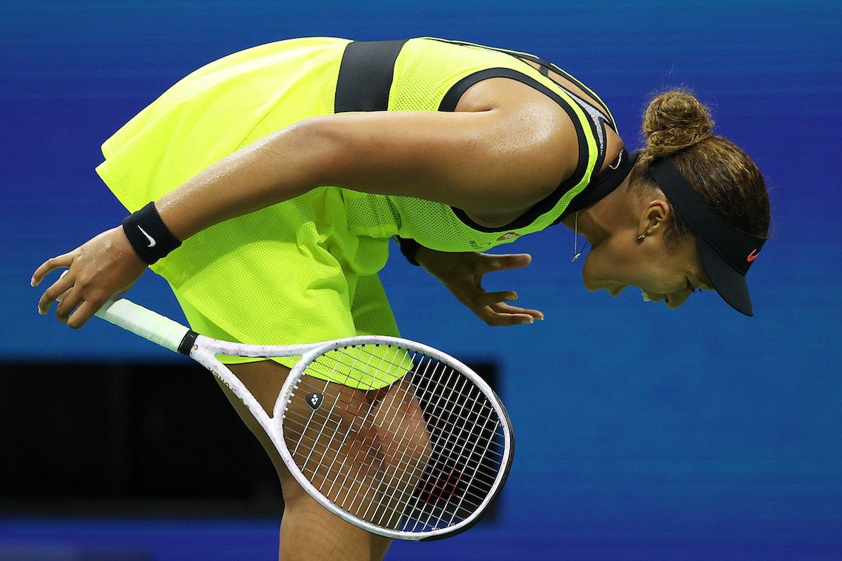 Naomi Osaka of Japan reacts to a lost point during a tie break against Leylah Fernandez of Canada during her Women's Singles third round match on Day Five of the US Open at USTA Billie Jean King National Tennis Center on September 03, 2021 in New York City.