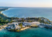 An aerial shot of Negril, Jamaica