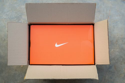 Khon Kaen, THAILAND - January 2020 : Nike Shoes box in a post box Online ordering and express delivery to home