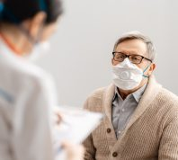Patient wearing a mask in the doctor's office