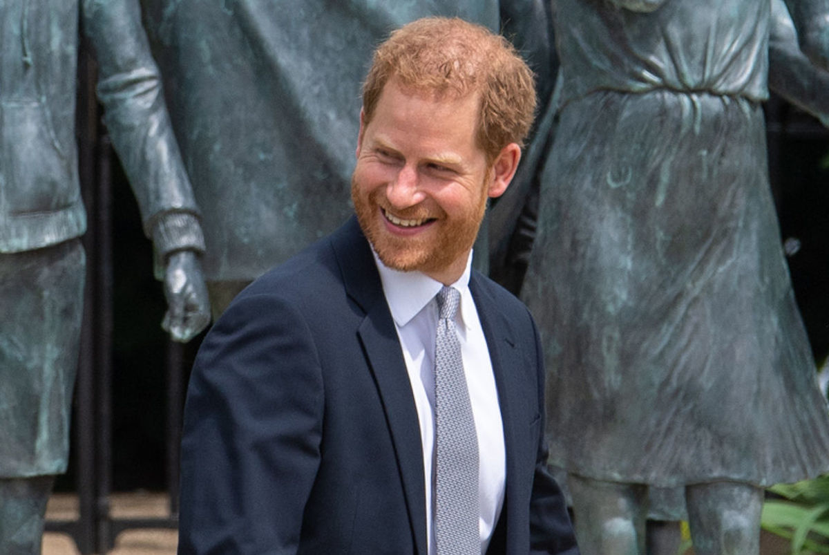 Prince Harry, Duke of Sussex after unveiling a statue of his mother Diana, Princess of Wales, in the Sunken Garden at Kensington Palace, on what would have been her 60th birthday on July 1, 2021 in London, England.