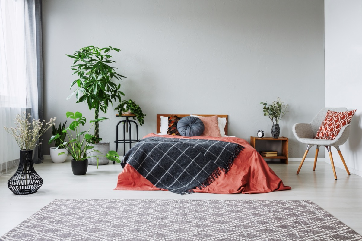 bed with red and black bedding in modern home