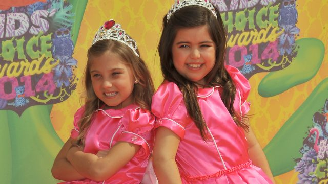 LOS ANGELES, CA - MARCH 29, 2014: Sophia Grace & Rosie at Nickelodeon's 27th Annual Kids' Choice Awards at the Galen Centre, Los Angeles.