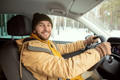 Man drives in many shifts and one scarf
