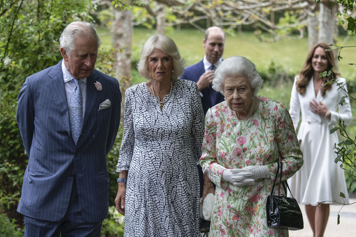 Prince Charles, Prince of Wales, Camilla, Duchess of Cornwall, Queen Elizabeth II, Prince William, Duke of Cambridge and Catherine, Duchess of Cambridge arrive for a drinks reception for Queen Elizabeth II and G7 leaders at The Eden Project during the G7 Summit on June 11, 2021 in St Austell, Cornwall, England.