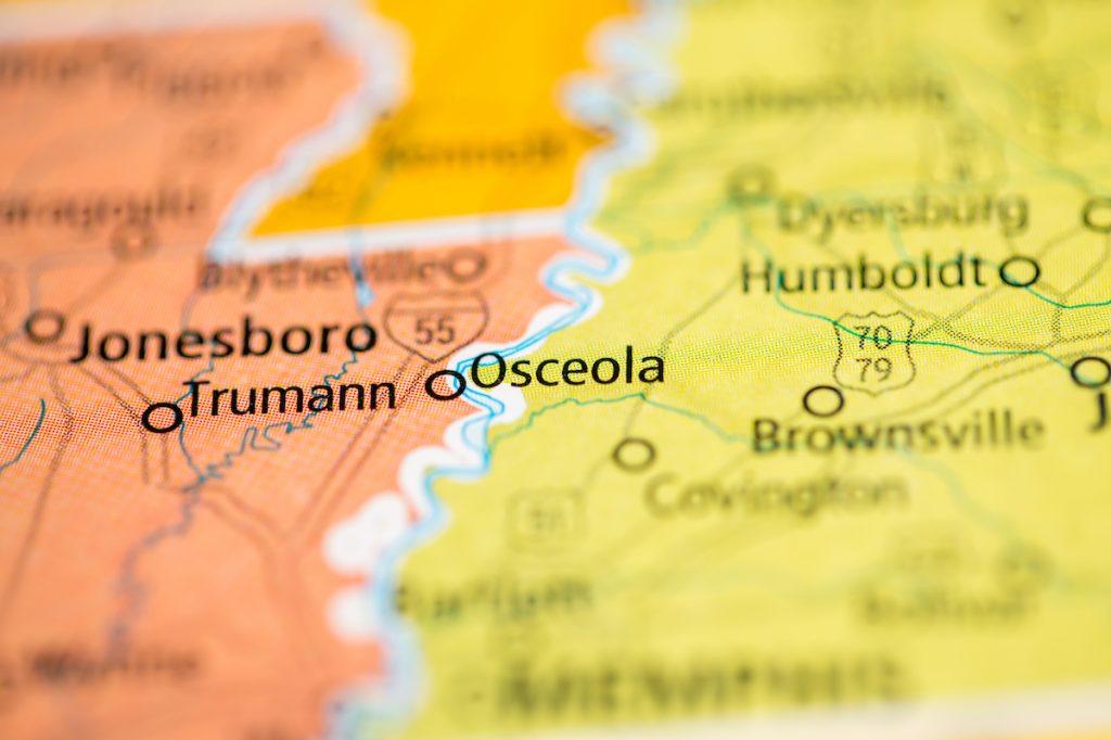Osceola, Arkansas on map