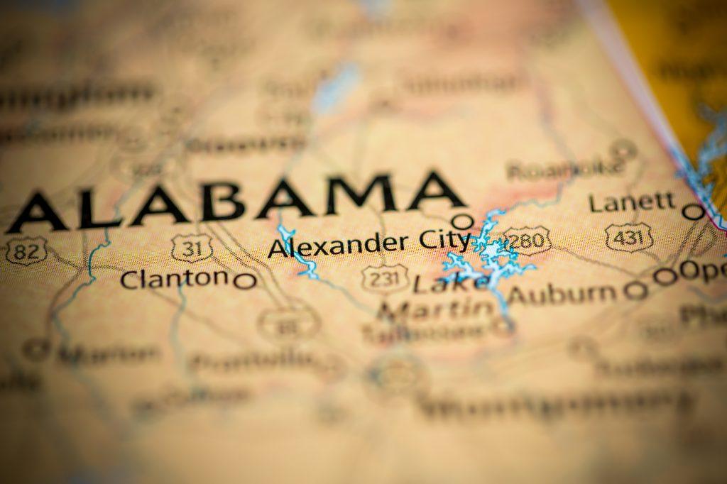 Alexander City, Alabama on a map