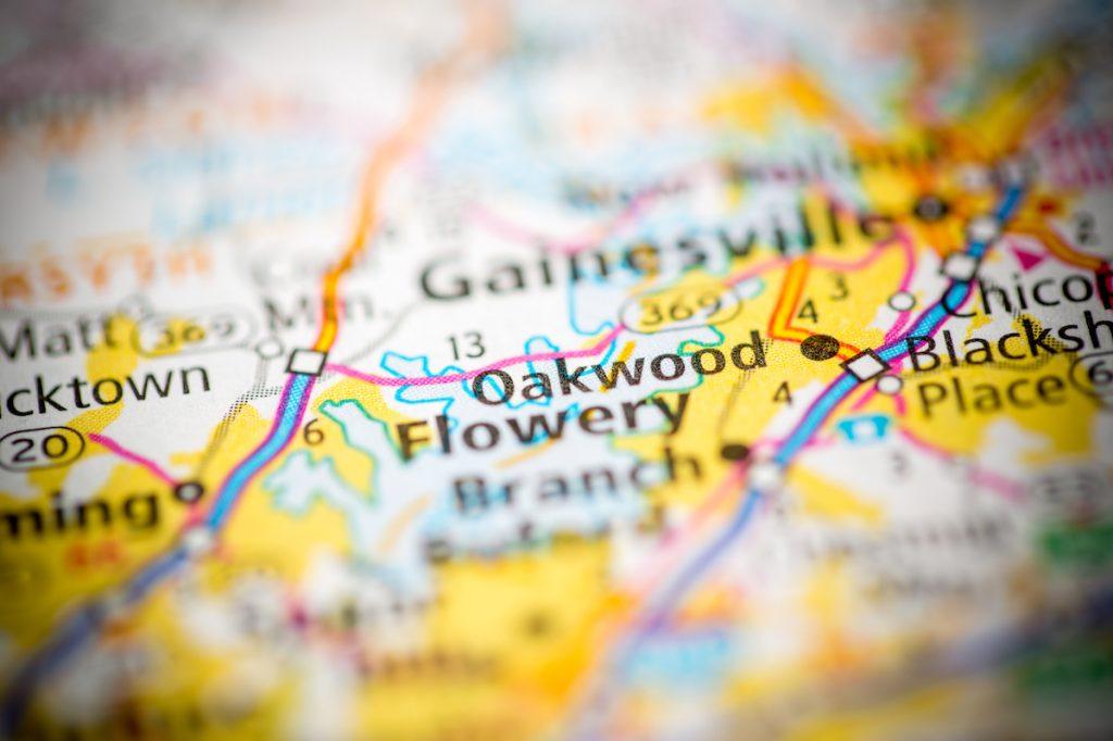 Oakwood, Georgia on map