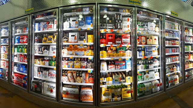 Beer fridge at retail store