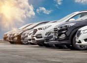 Row of new cars for sale