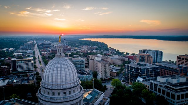 An aerial view of Madison, Wisconsin
