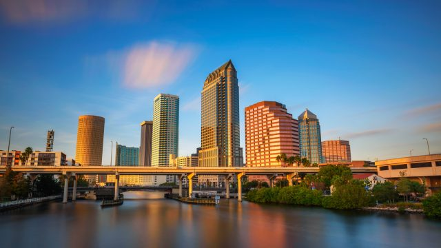 The skyline of Tampa Bay, Florida at sunset