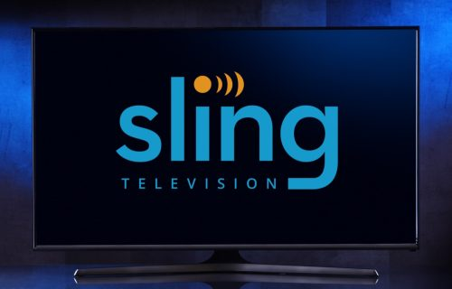 Flat Screen TV with the Sling TV logo on it