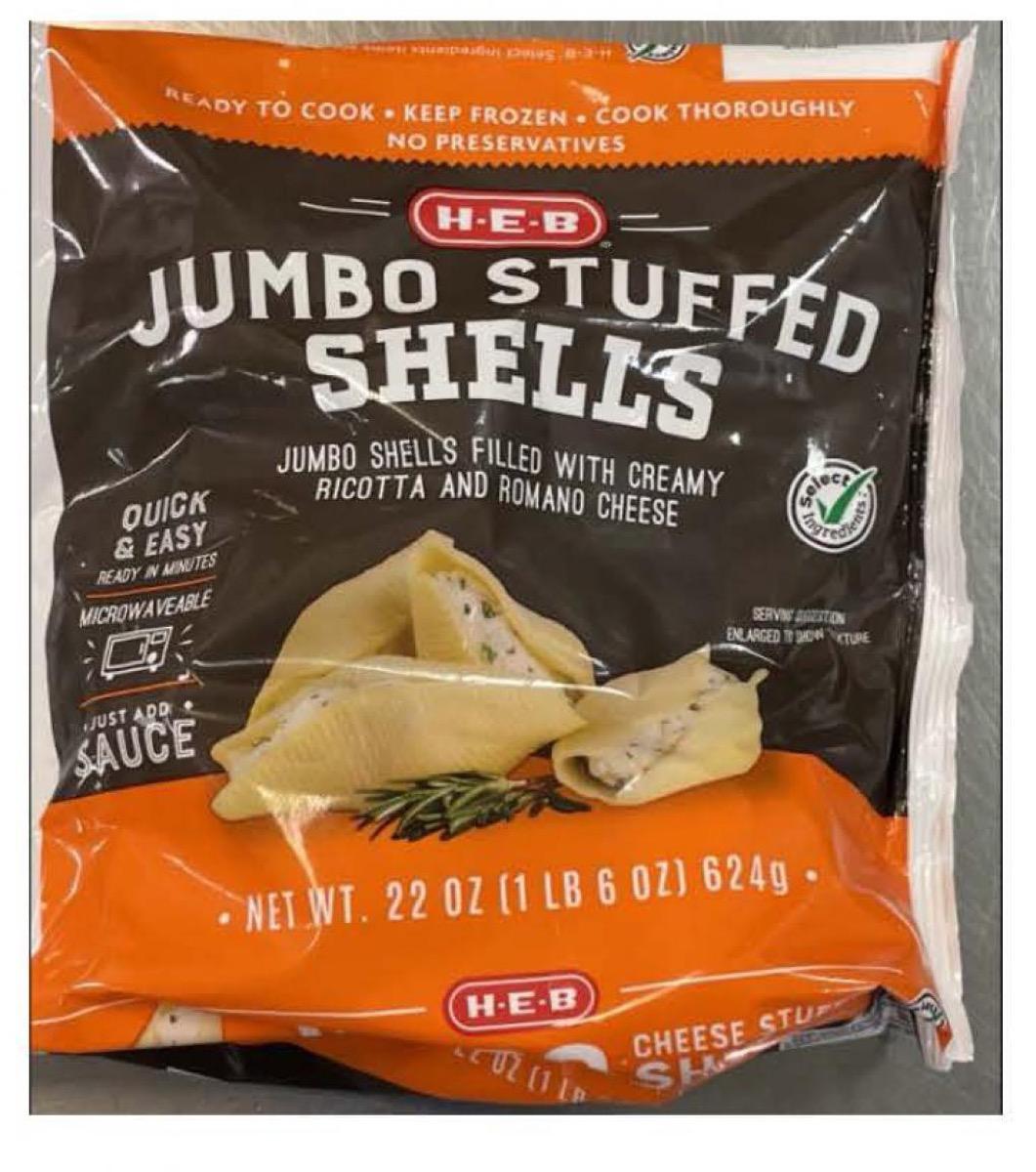 bag of h-e-b frozen stuffed shells
