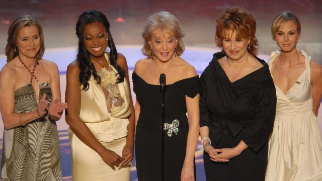 "Meredith Vieira, Star Jones, Barbara Walters, Joy Behar and Elisabeth Hasselbeck of ""The View"""
