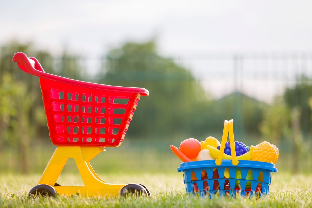 toy shopping cart and basket outdoors
