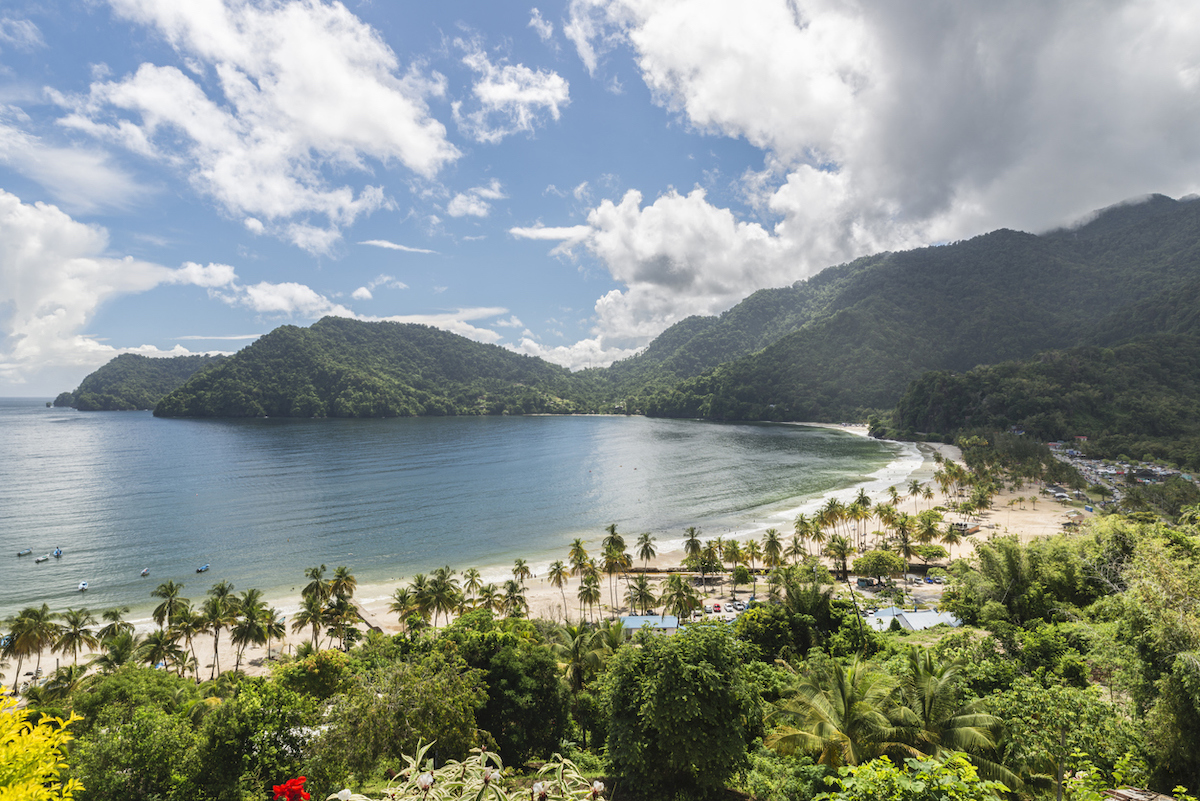 Maracas beach viewed from above on a sunny day.  Weekend getaway for trinis in Trinidad and Tobago, Caribbean island.