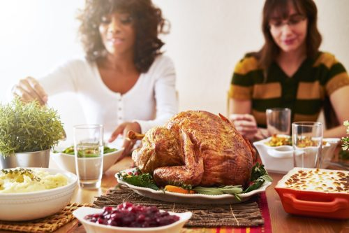 thanksgiving dinner turkey with people eating