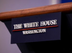 A close up of the rostrum in the White House press room