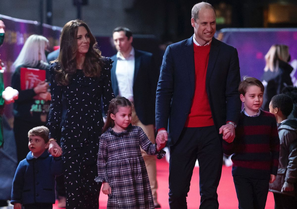 Prince William, Duke of Cambridge, his wife Britain's Catherine, Duchess of Cambridge, and their children Prince George, Princess Charlotte, and Prince Louis