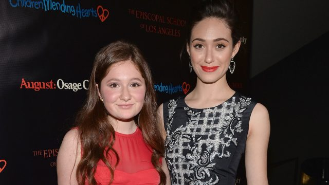 """Emma Kenney and Emmy Rossum at a screening of """"August: Osage County"""" in 2013"""