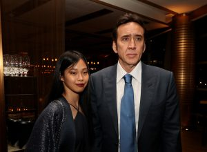 """Riko Shibata and Nicolas Cage at the after party for the premiere of """"Pig"""" in July 2021"""