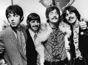 """The Beatles at a press conference for """"Sgt Pepper's Lonely Hearts Club Band"""" in May 1967"""