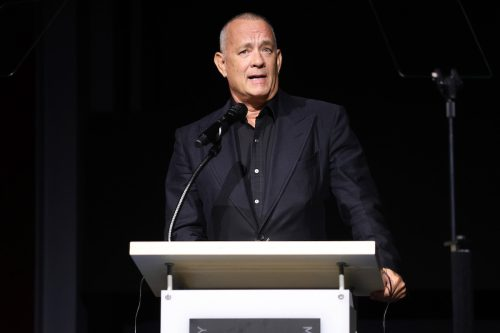 Tom Hanks speaking during the opening of the Academy Museum of Motion Pictures in September 2021