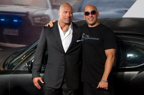 """Dwayne Johnson and Vin Diesel at the premiere of """"Fast Five"""" in Rio de Janeiro in April 2011"""