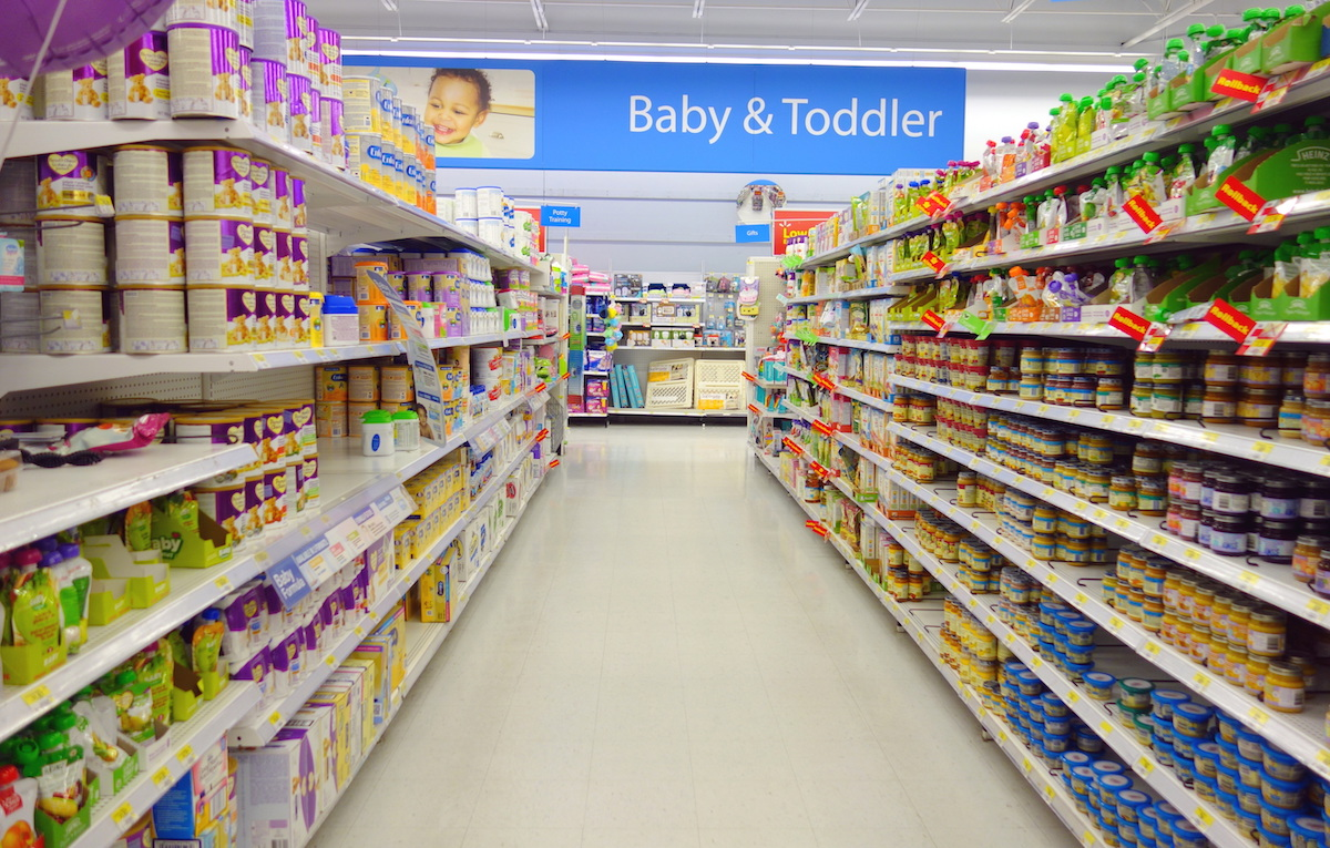 Baby and toddler food selection in Walmart