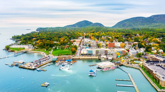 An aerial view of Bar Harbor, Maine