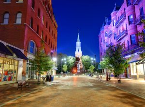 A view of Church Street in Burlington, Vermont