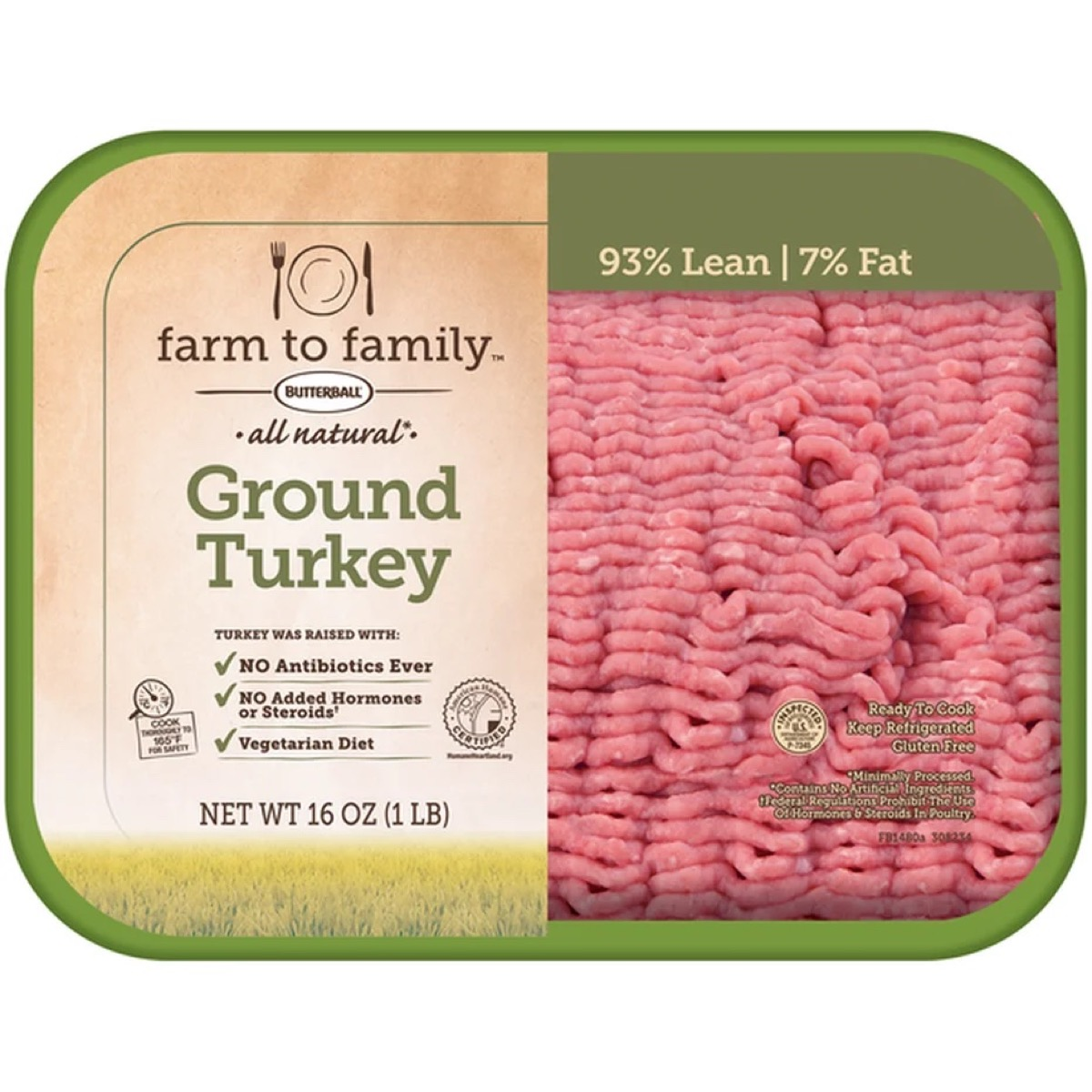 butterball ground turkey in green tray
