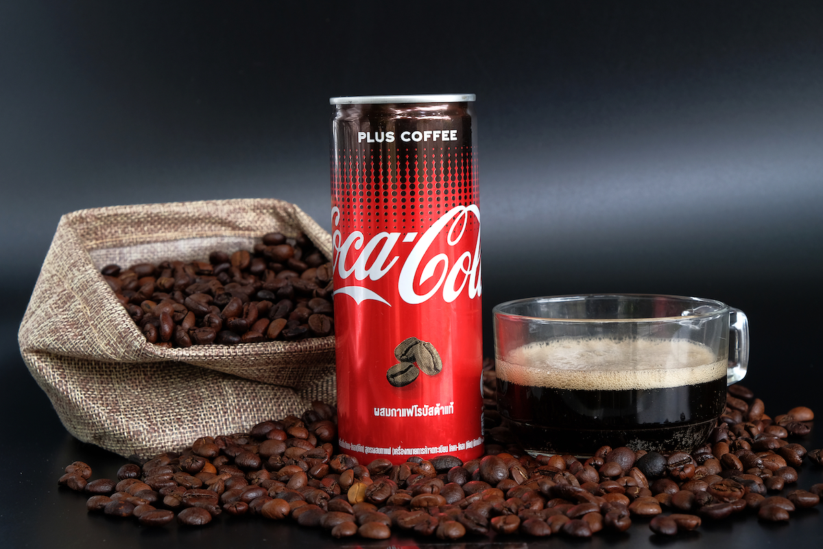 Close up of Coca Cola Plus Coffee, a new innovation of Coca Cola.