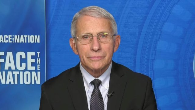 Dr. Anthony Fauci appearing on Face the Nation on Oct. 3, 2021