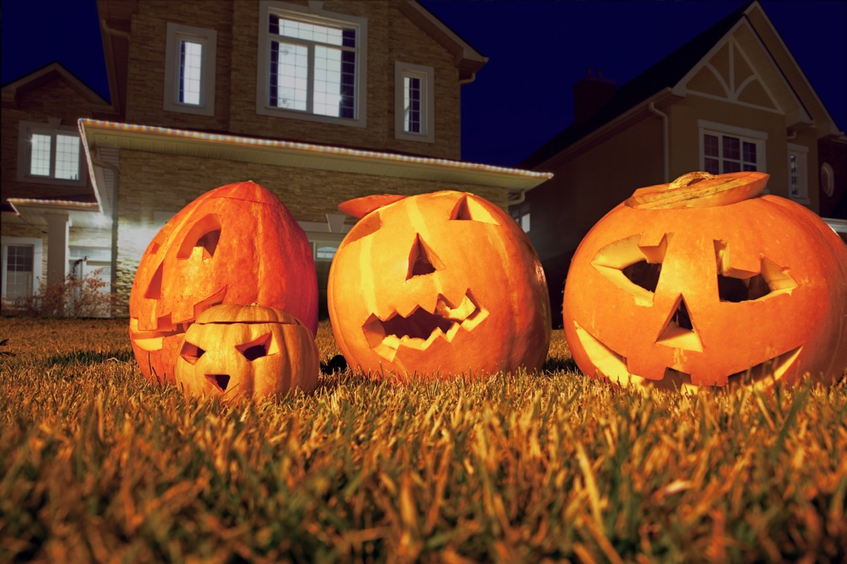 three jack o lanterns sitting in yard outside of a suburban home