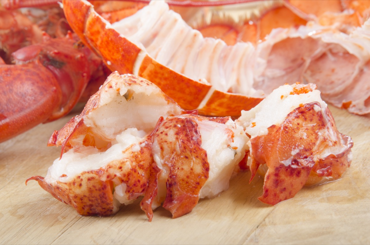 lobster meat on off-white surface