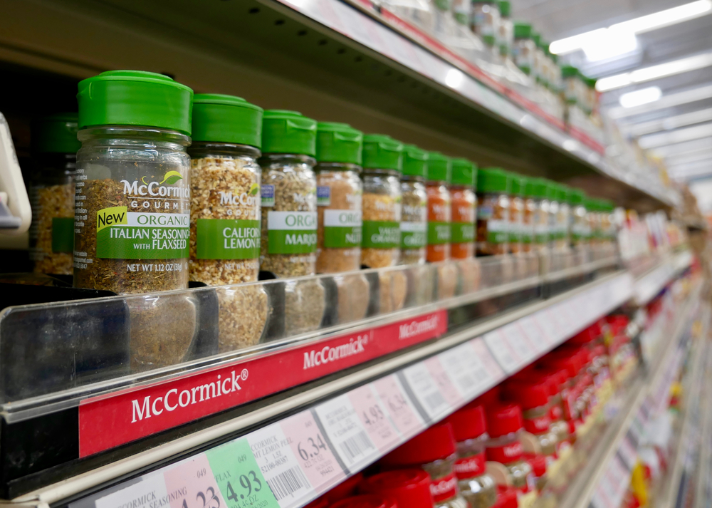 McCormick Gourmet spices on a shelf in a grocery store