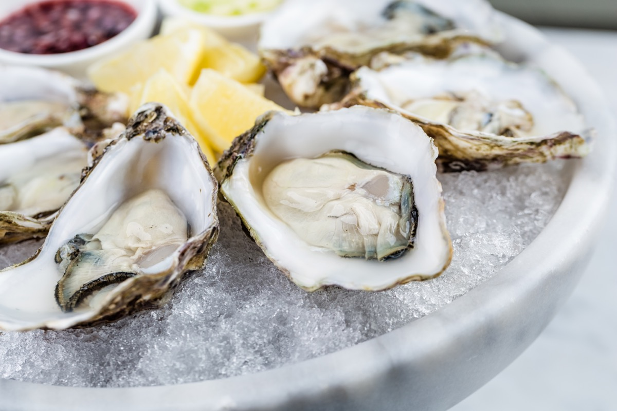 raw oysters on a bed of ice