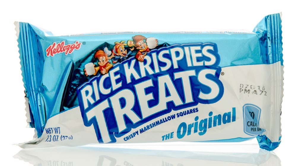 A packaged Kellog's Rice Krispies Treat sitting on a white background