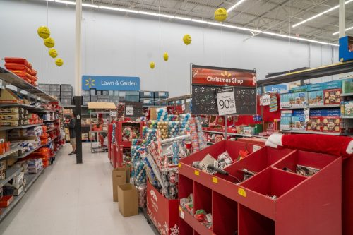 Irvine, CA - January 10, 2020. Christmas merchandise offered for big discounts at Walmart after Christmas to remove seasonal inventory from store shelves.