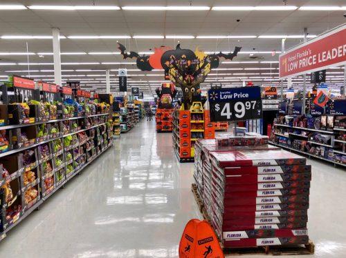 Interior of Walmart retail store showing Halloween items.  Saint Augustine, Florida USA.  October 11, 2018