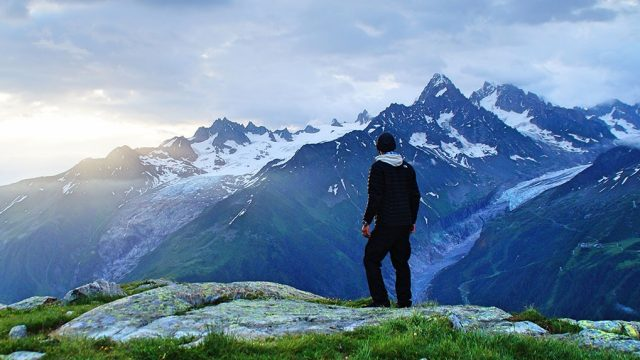 Man and mountains