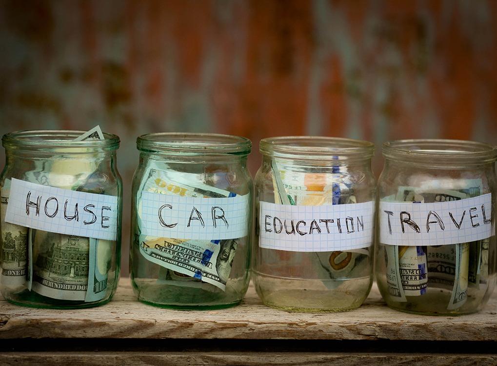money saved in a jar