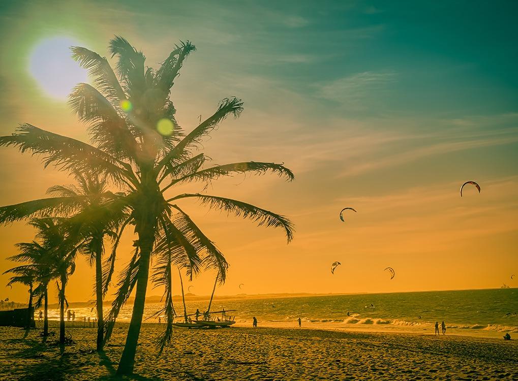 Brazilian beach at sunset