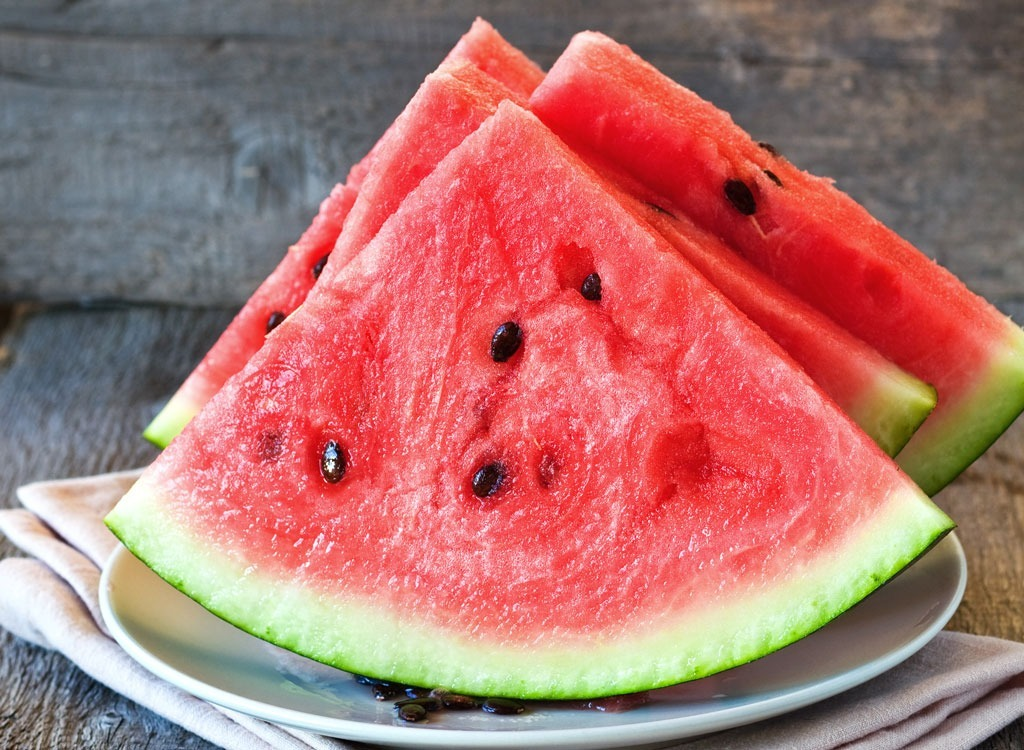Slices of watermelon on plate