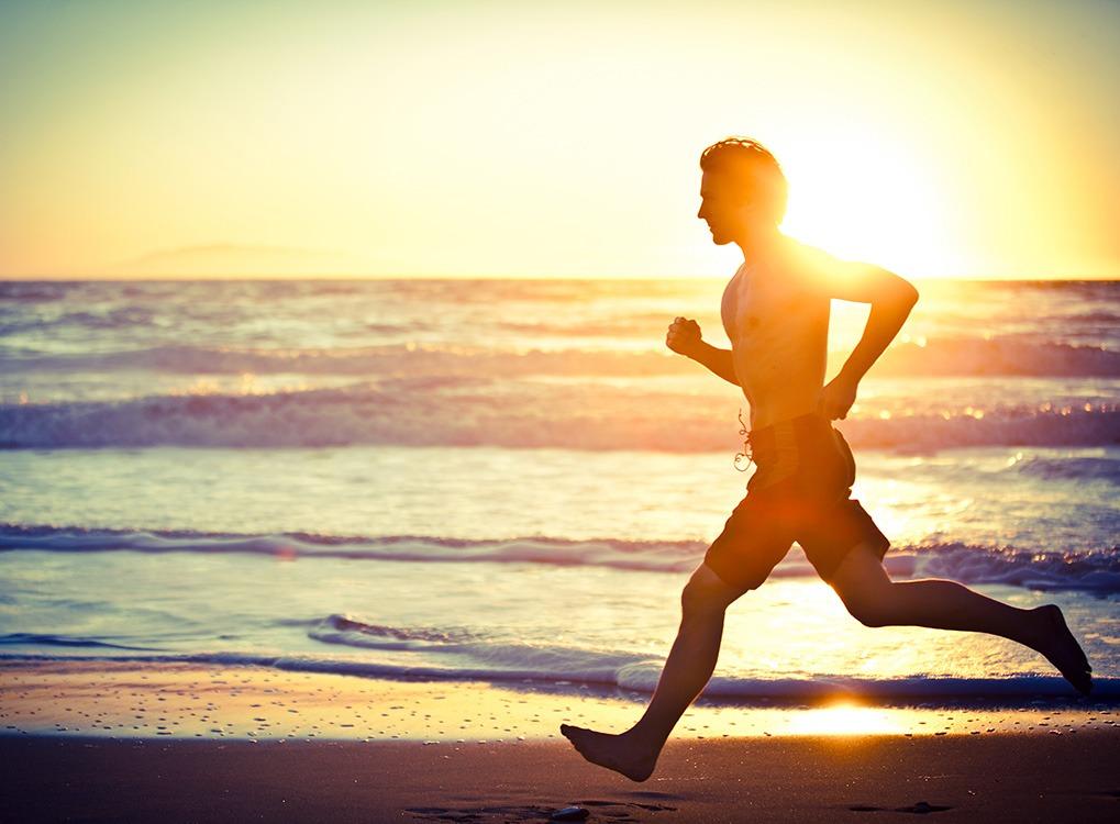 Man, running, beach
