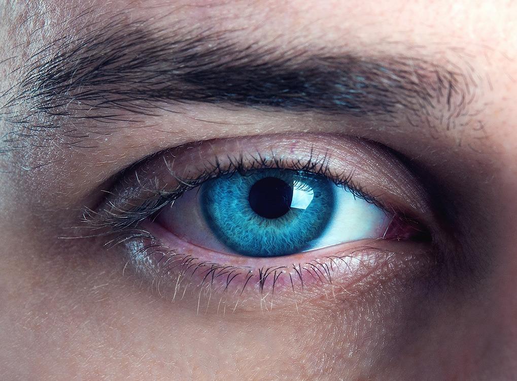 Close-up on man's blue eye